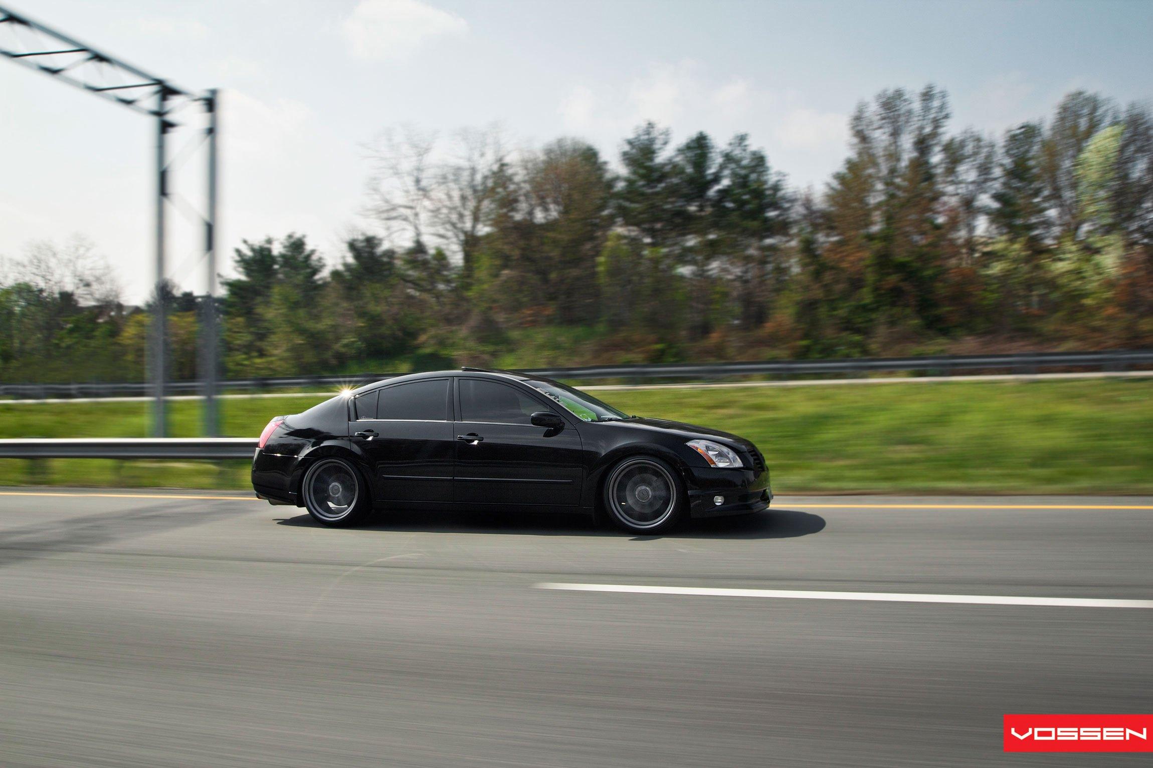 Stanced Nissan Maxima Enhanced With Stylish Custom Wheels