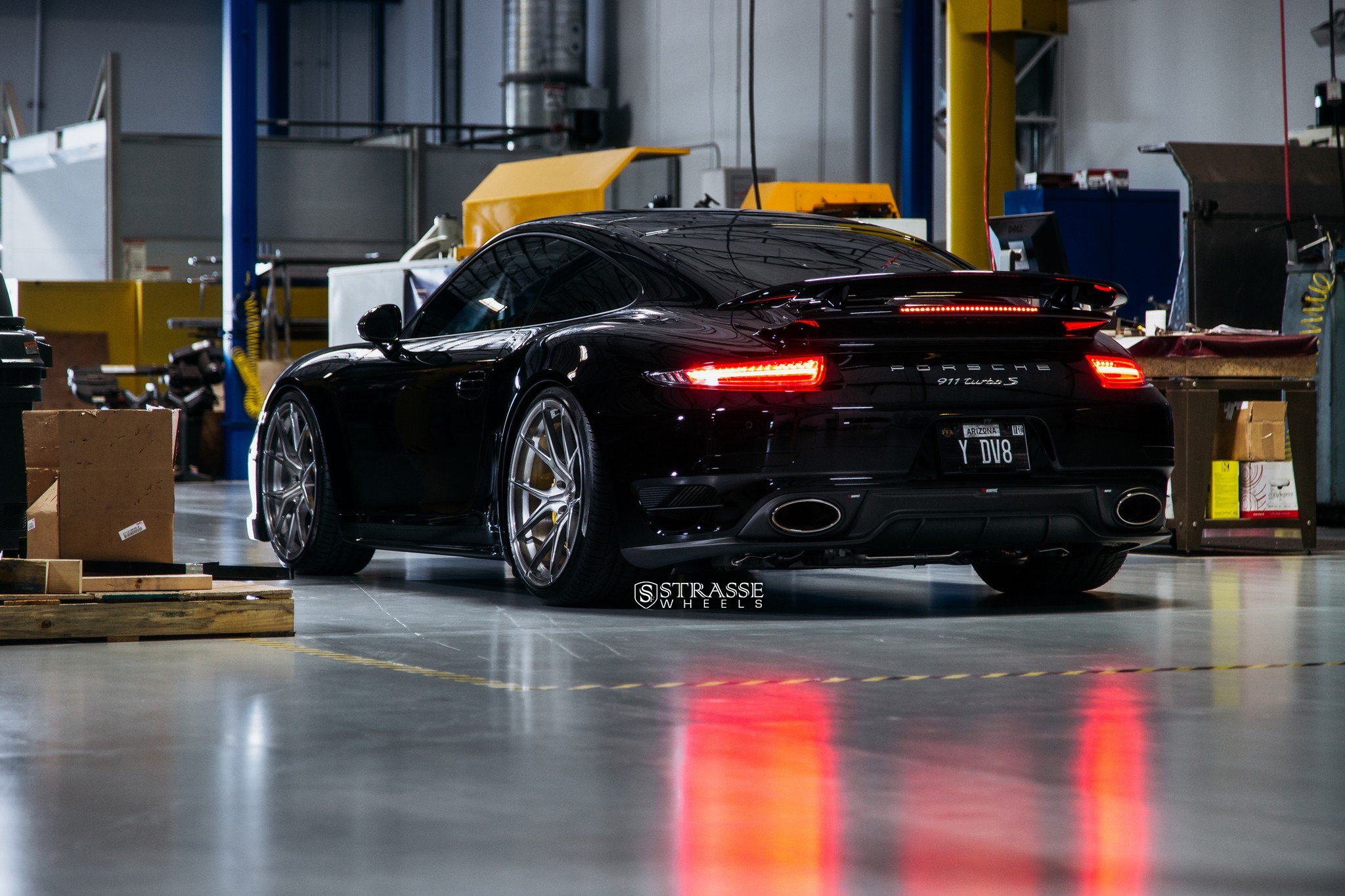 Black Porsche 911 Turbo S With Red LED Taillights   Photo By Strasse Forged