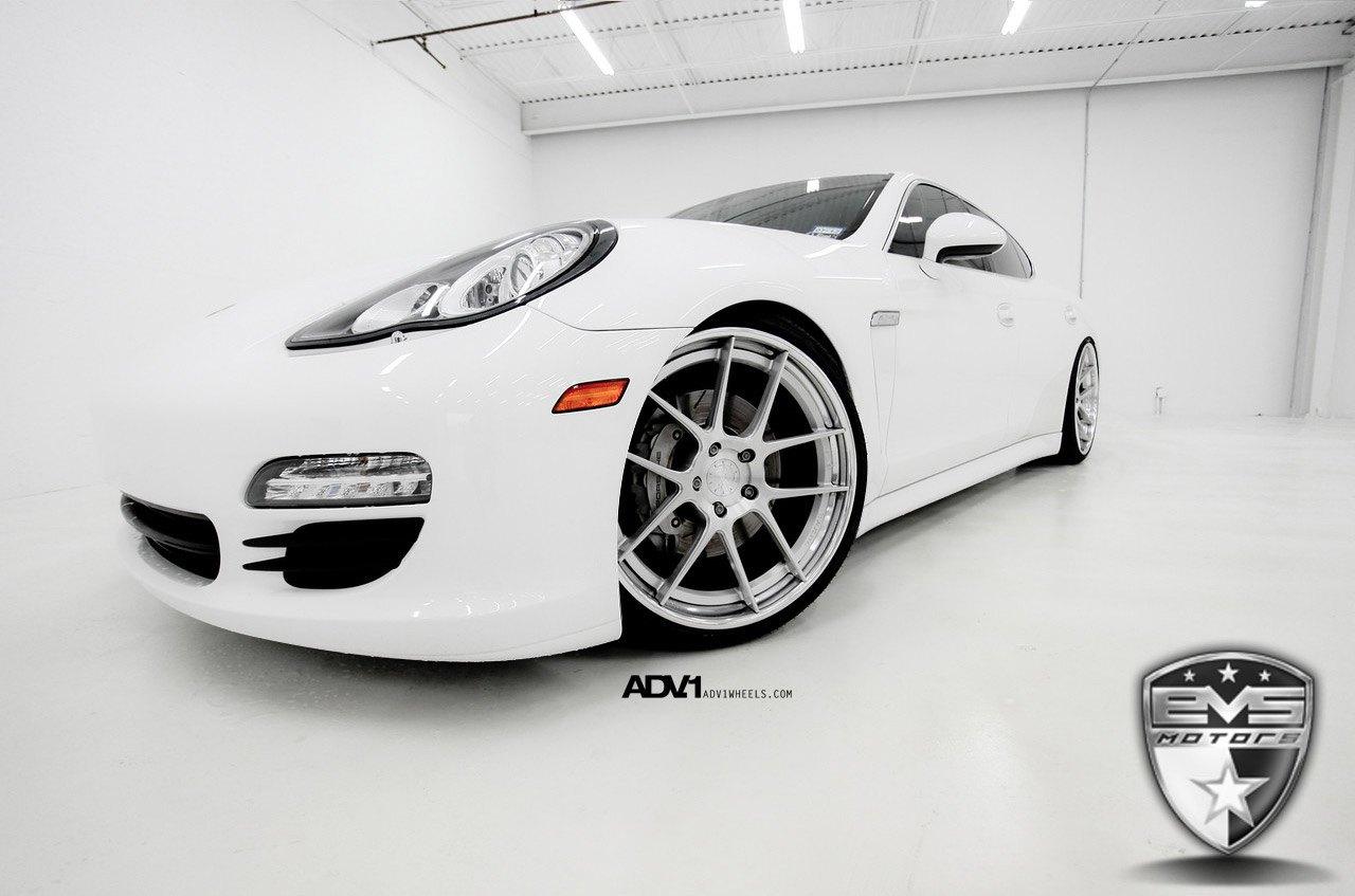 Aftermarket Front Bumper On White Porsche Panamera
