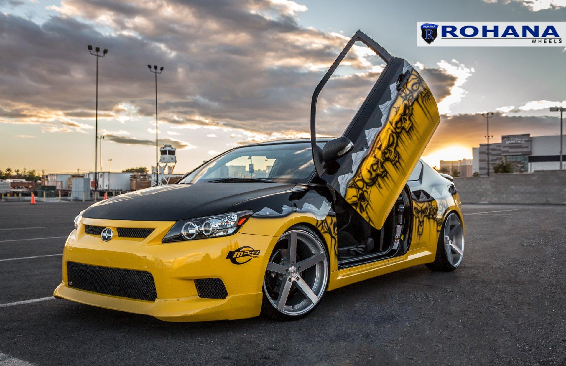 Yellow Scion TC with Custom Graphics and Lambo Doors — CARiD Gallery