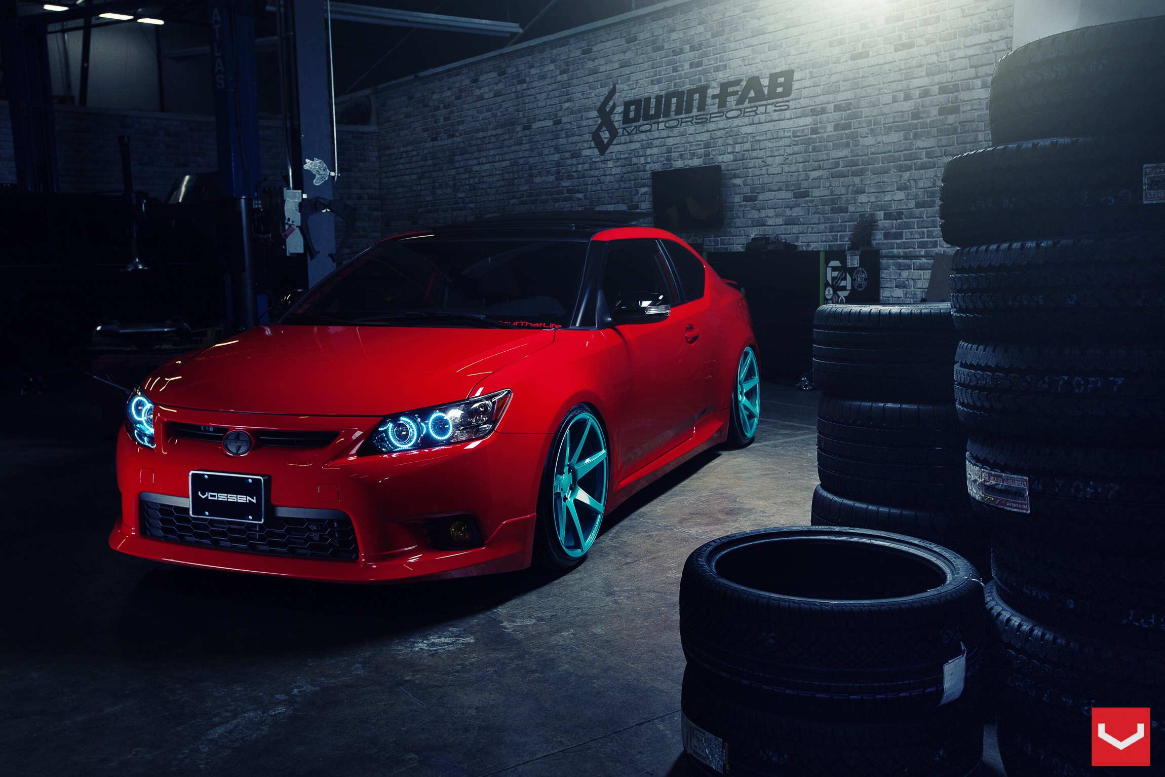 Extraordinary Color Solution Red Scion Tc On Custom Blue Wheels