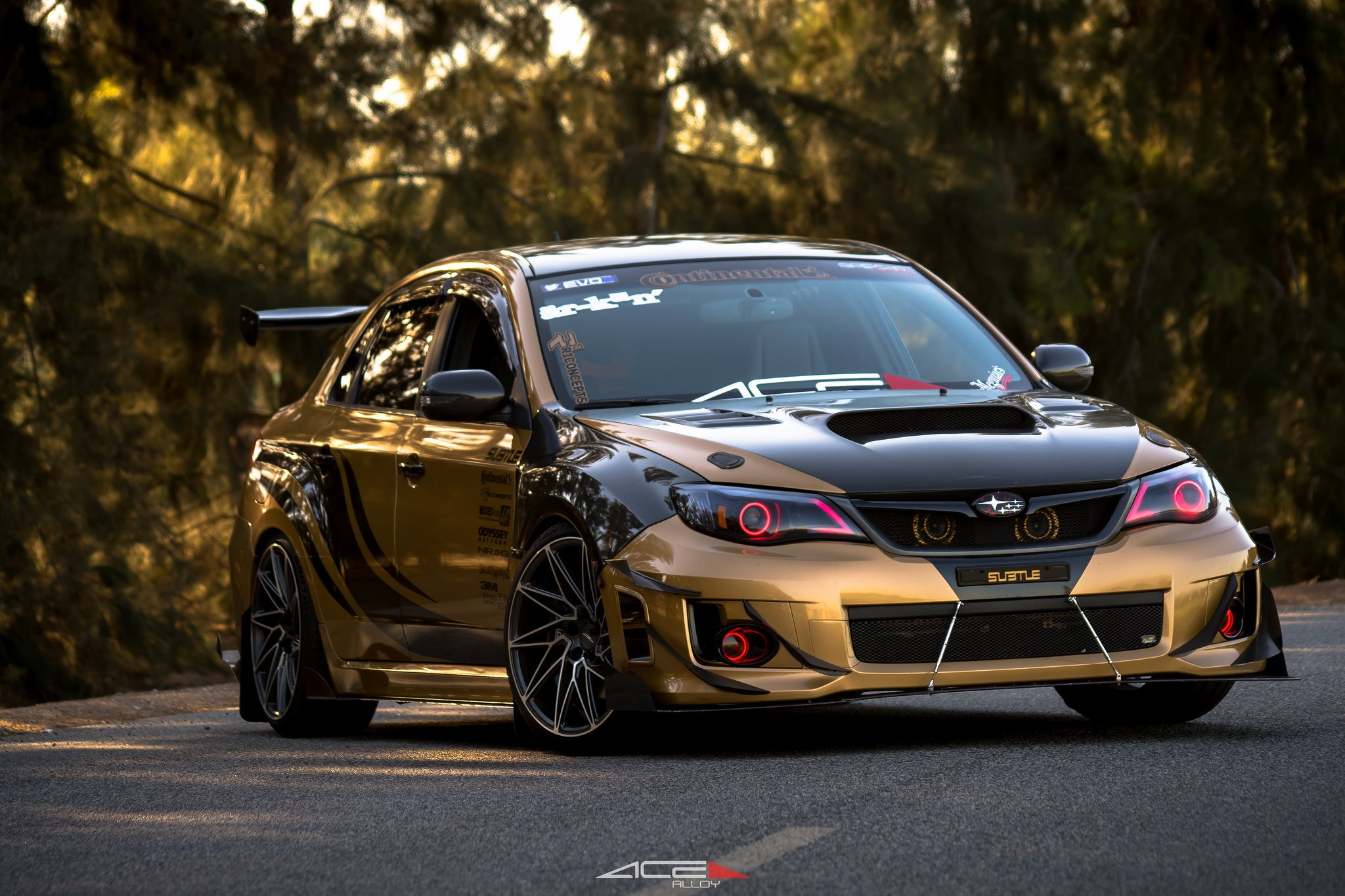 beast mode on custom gold debadged subaru wrx gallery. Black Bedroom Furniture Sets. Home Design Ideas