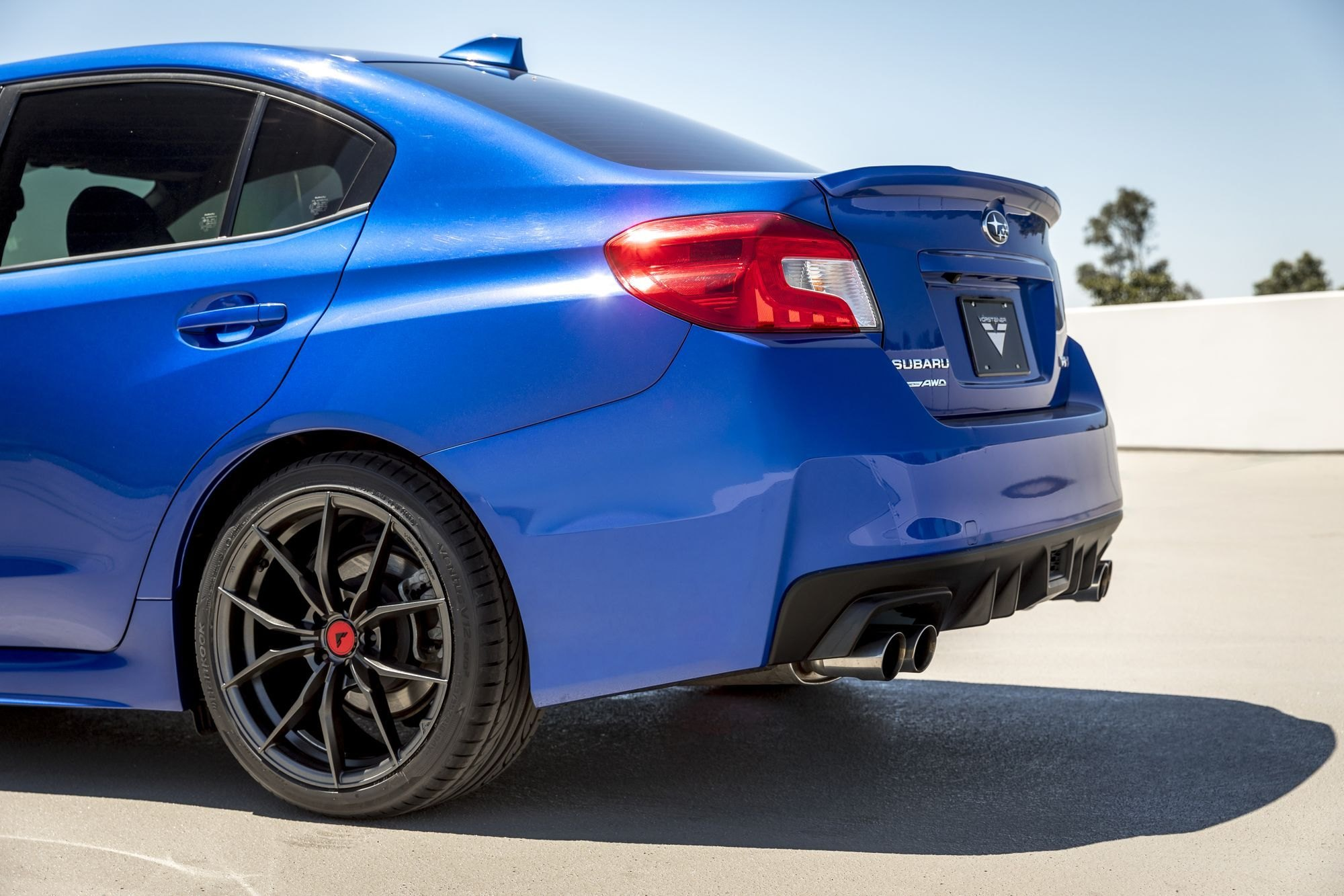 Rear Lip Spoiler On Blue Subaru Wrx Photo By Vorstiner