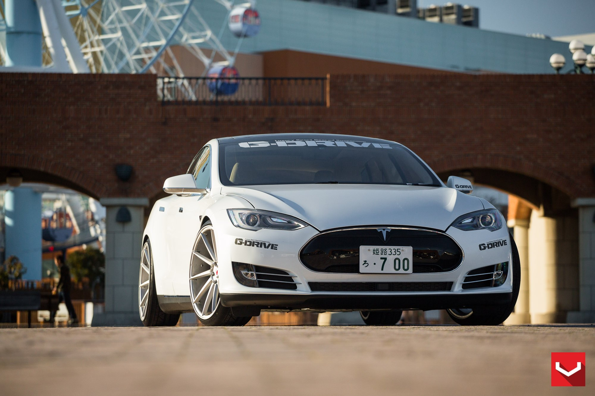 Custom White Tesla Model S with LED Headlights - Photo by Vossen