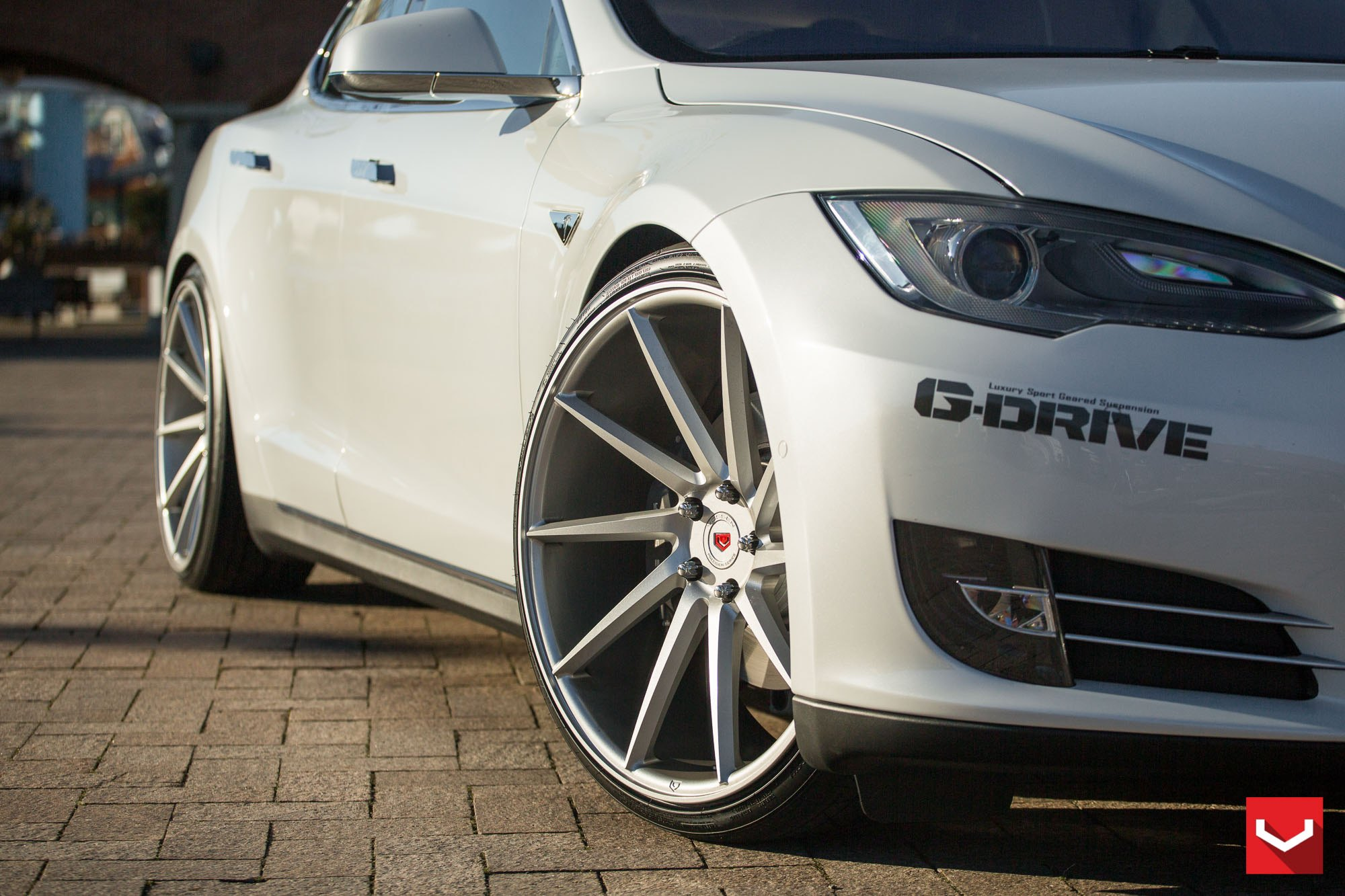 White Tesla Model S with Custom Front Bumper Cover - Photo by Vossen