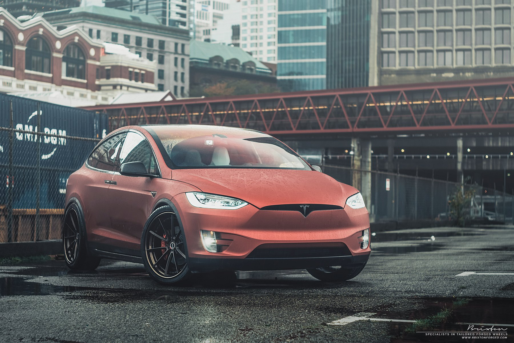 Revolutionary Appearance Of Red Tesla Model X Shod In