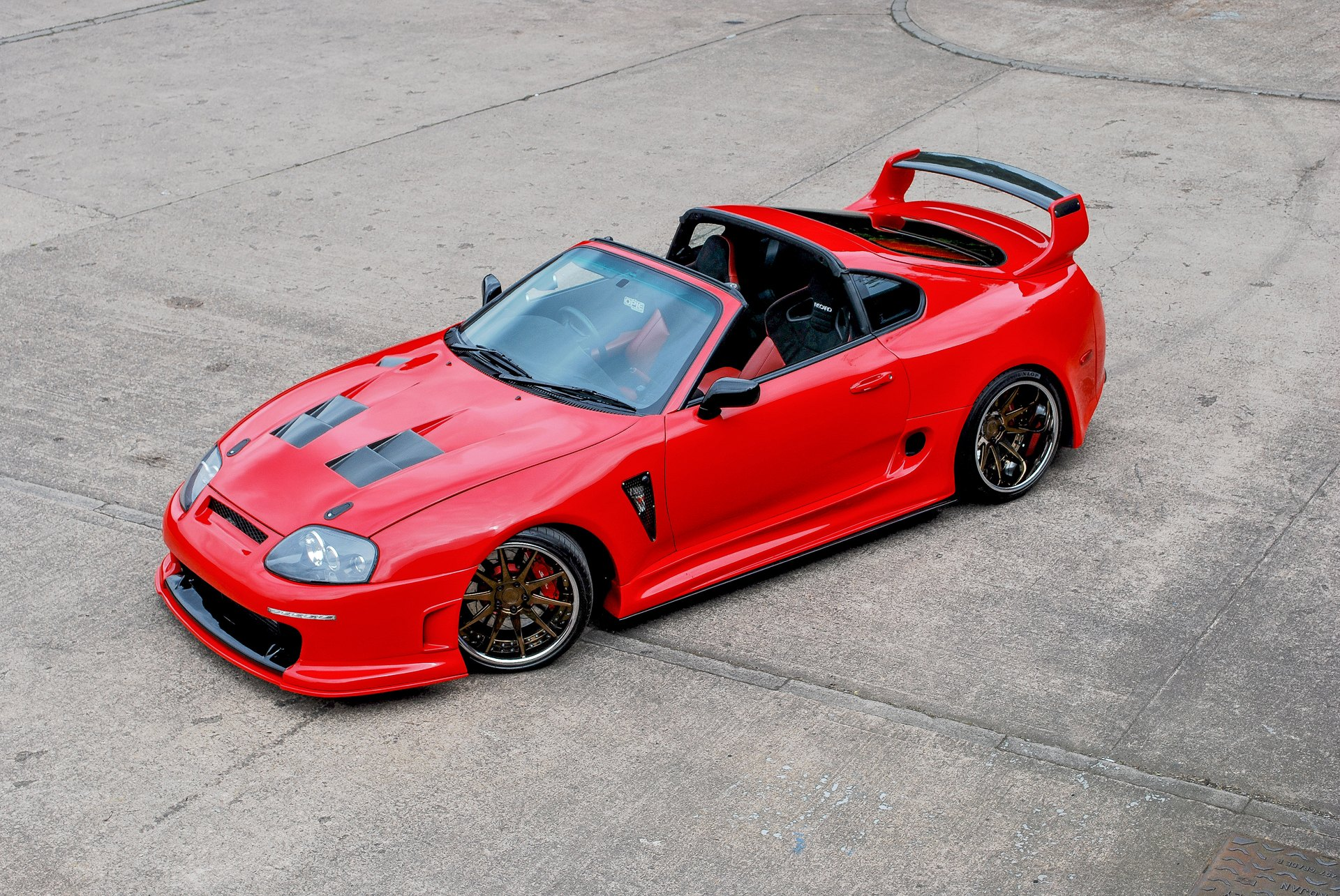 a red convertible