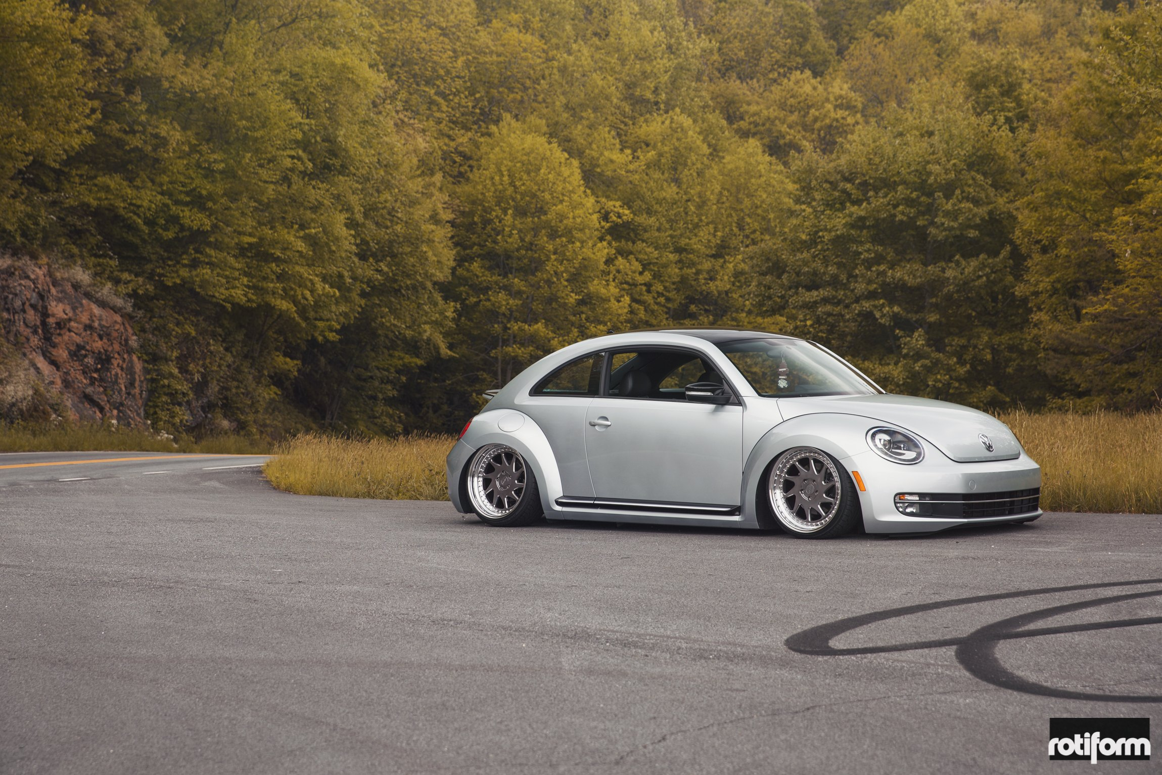 Silver VW Beetle with Aftermarket Bodyside Moldings - Photo by Rotiform