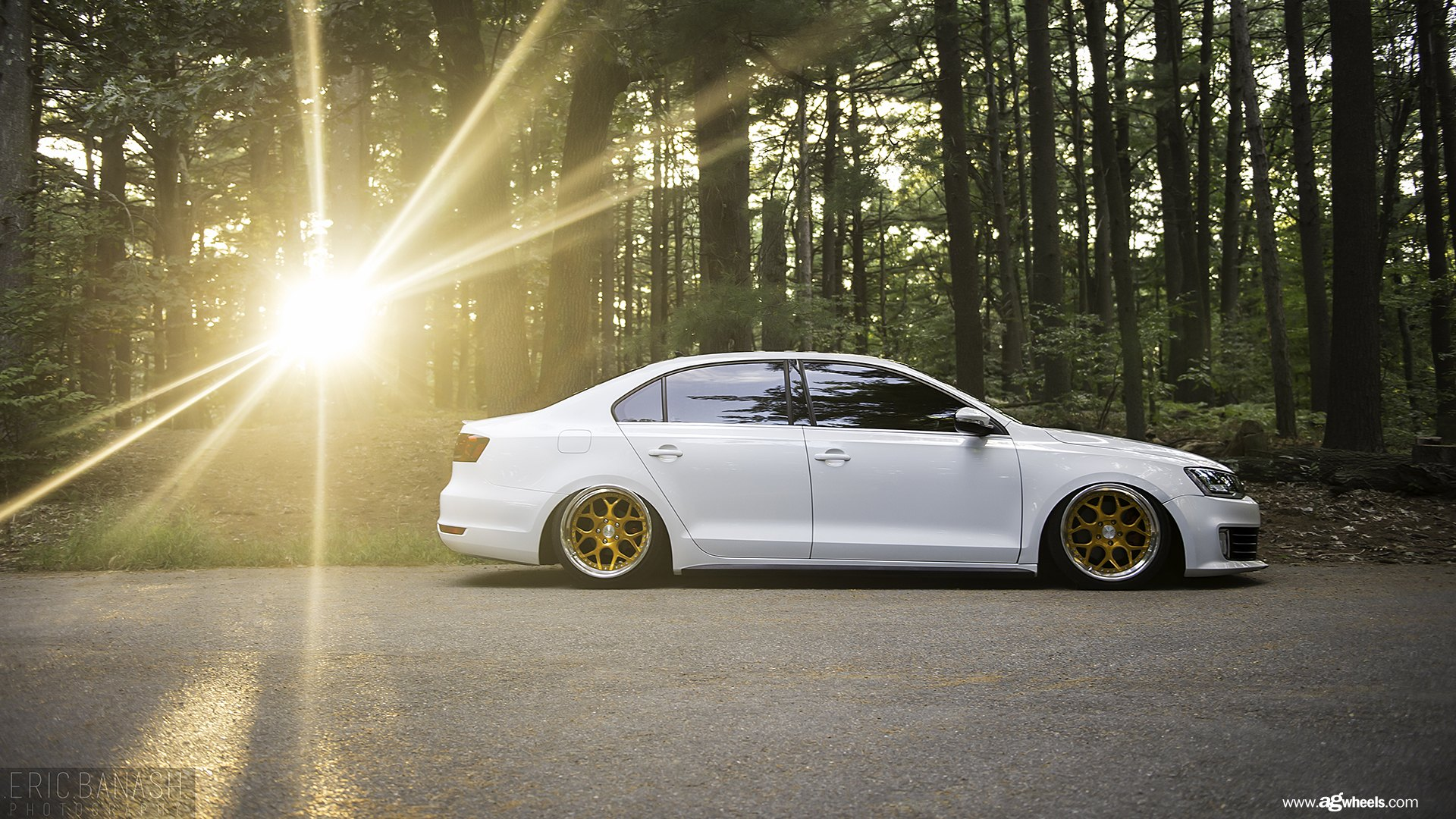White Vw Jetta Rocking A Set Of Gold Avant Garde Wheels
