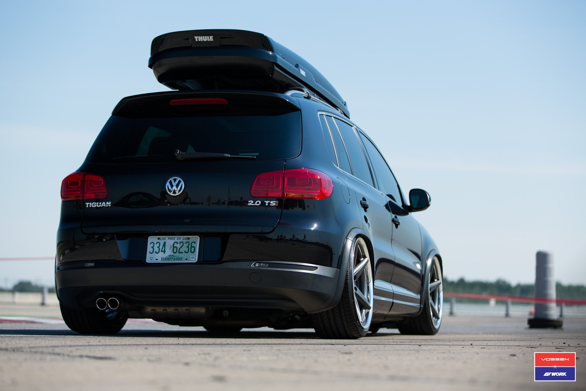 Thule Roof Rack On Black Volkswagen Tiguan 2.0   Photo By Vossen
