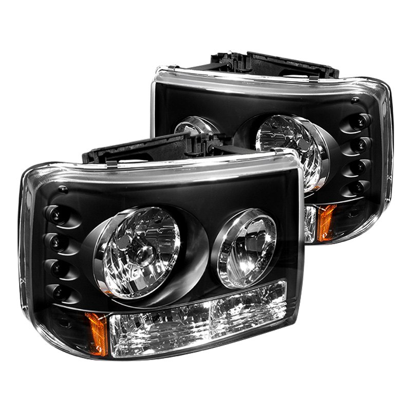 ipcw chevy silverado 1999 2002 black conversion led euro headlights with bumper lights. Black Bedroom Furniture Sets. Home Design Ideas