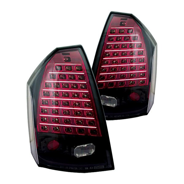 Chrysler 300 2006 Black Led Tail Lights: Chrysler 300 2007 Bermuda Black/Red LED Tail Lights