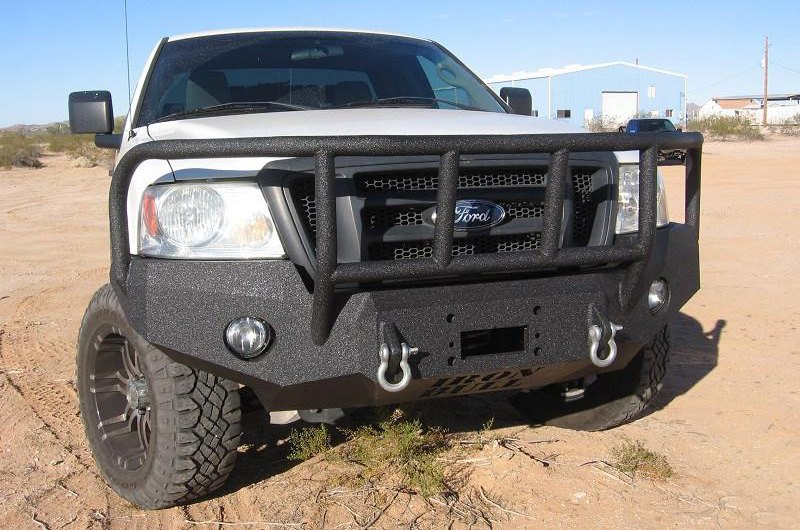 Off Road Bumpers F150 >> Iron Bull Bumpers® - Ford F-150 2005 Full Width Black Front Winch HD Bumper with Enforcer Guard