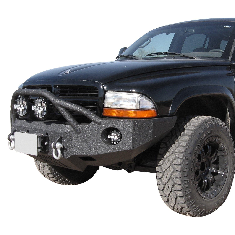 iron bull bumpers dodge dakota 1997 full width black front winch hd bumper with defender 4 guard. Black Bedroom Furniture Sets. Home Design Ideas