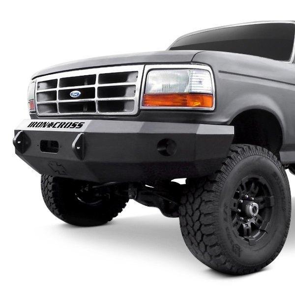 Heavy Duty Front Steel Bumper With Winch Mount Da5645 For: For Ford F-150 92-96 Heavy Duty Series Full Width Black