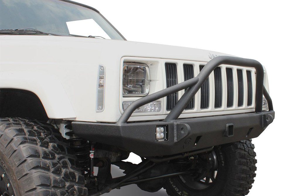 Front Bumper Repair >> JcrOffroad® - Jeep Cherokee 1984 Defender Full Width Front HD Bumper with Pre-Runner Guard and 2 ...