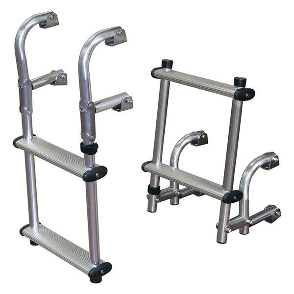 Jif Marine 174 Epu2 2 Step Aluminum Compact Transom Ladder