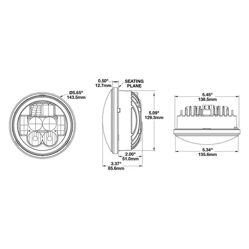 j w  speaker u00ae 0549911  4 u0026quot  round black halo projector led headlight
