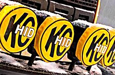 KC HiLiTES Round Yellow Vinyl Light Covers With Black KC Hid Logo