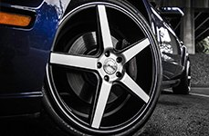 KMC® - DISTRICT Satin Black with Machined Face on Ford Mustang - Front Wheel