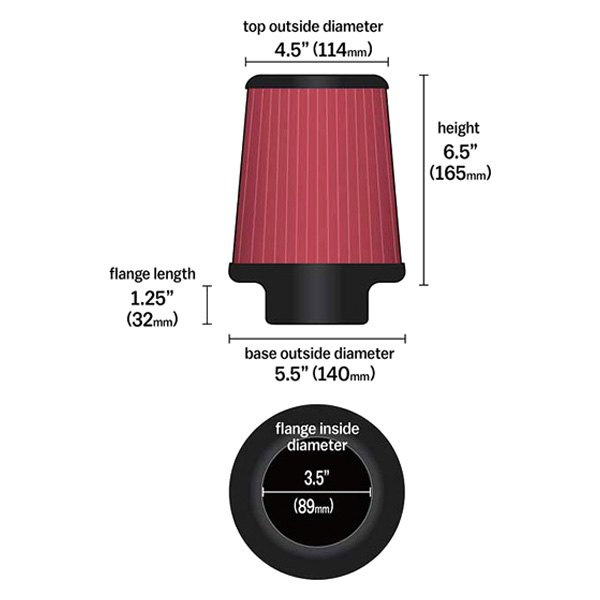 "K N Re 0930 Universal Clamp On Air Filter Universal Air: Round Tapered Red Air Filter (3.5"" F X 5"