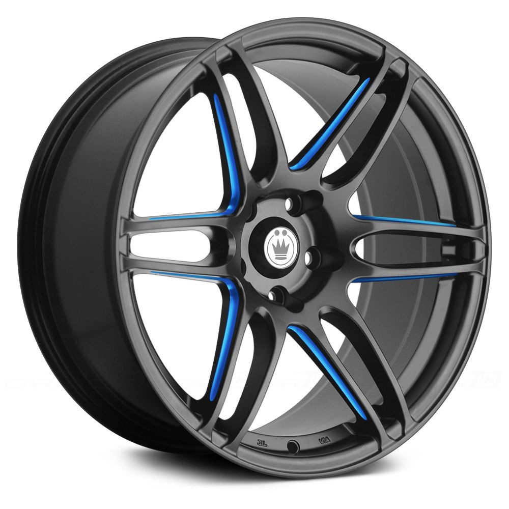 Konig 174 Deception Wheels Matte Black With Blue Ball Cut