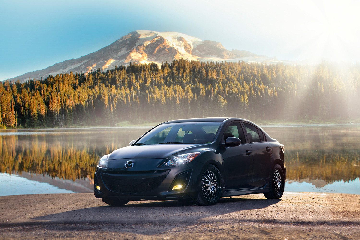 ... LACE Gloss Black With Mirror Machined Face On Mazda 3KONIG® ...