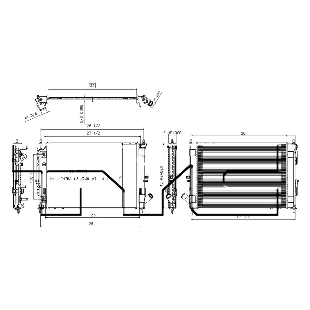 5 8l Engine Cooling System Diagram Electrical Wiring Diagrams Ford Koyorad Hyundai Elantra 2016 Tyc Coolant Radiator