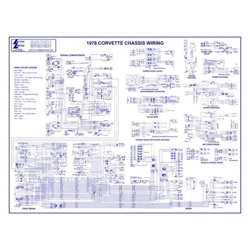 Lectric Limited® VWD7800 - Wiring Diagram on wiring diagram for 1990 corvette, wiring diagram for 1980 corvette, wiring diagram for 1986 corvette, wiring diagram for 1968 corvette, wiring diagram for 1969 corvette, wiring diagram for 1979 corvette, wiring diagram for 1976 corvette, wiring diagram for 69 corvette, wiring diagram for 1981 corvette, wiring diagram for 1984 corvette,