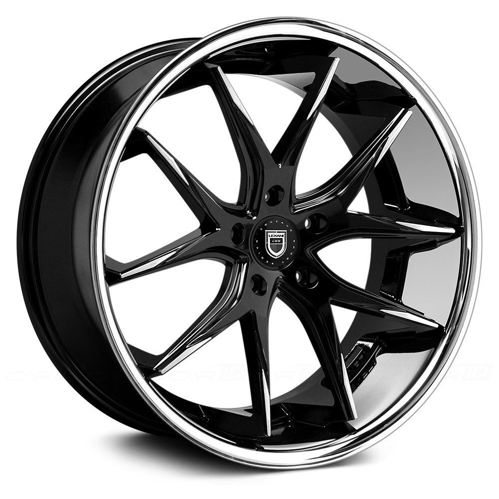 Lexani 174 R Twelve 1pc Wheels Black With Machined Tips And
