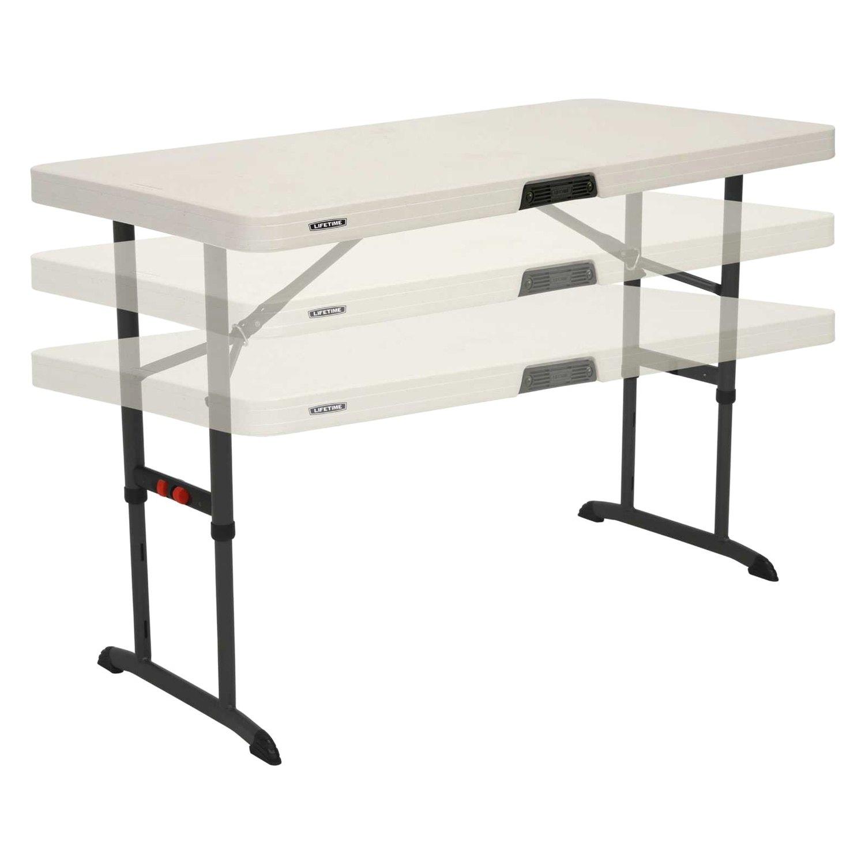 Lifetime®   4u0027 Almond Commercial Adjustable Height Folding TableLifetime®  ...