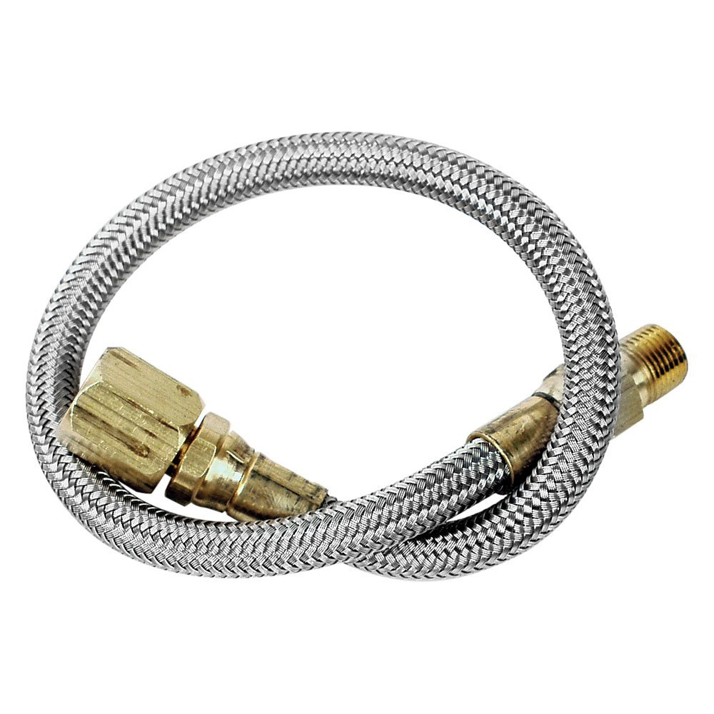 Longacre stainless steel braided gauge line with block