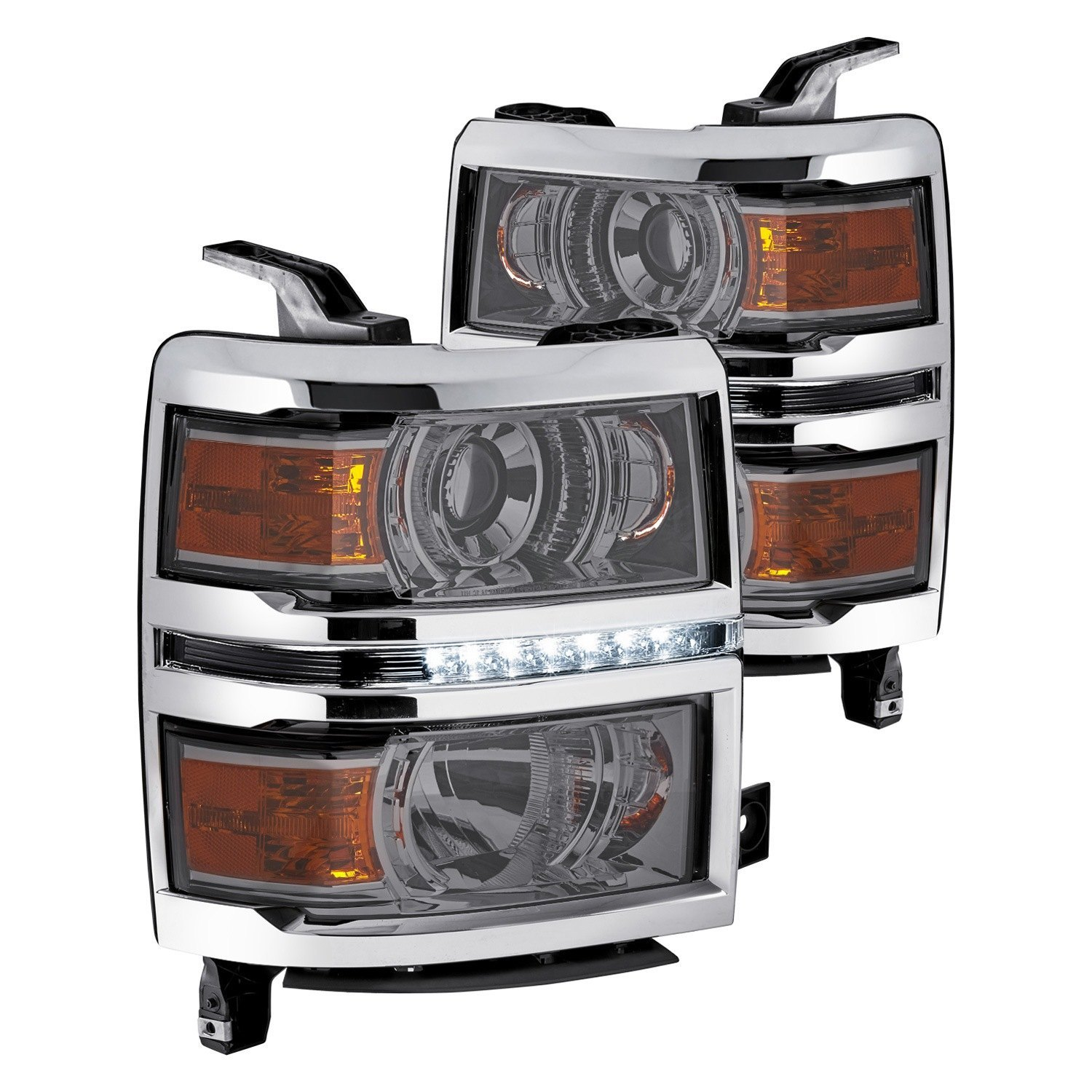 lumen chevy silverado 1500 2016 chrome smoke projector. Black Bedroom Furniture Sets. Home Design Ideas