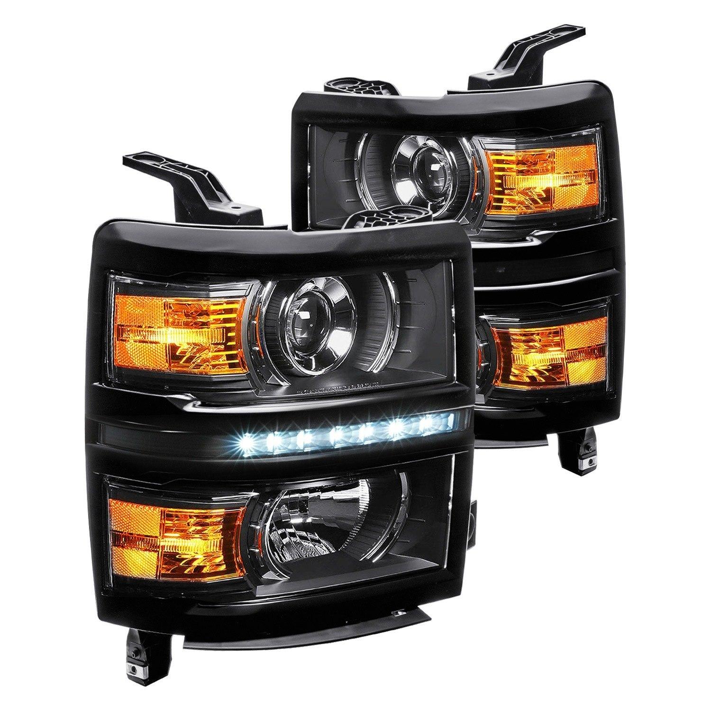 lumen chevy silverado with factory halogen headlights 2015 black projector headlights with. Black Bedroom Furniture Sets. Home Design Ideas