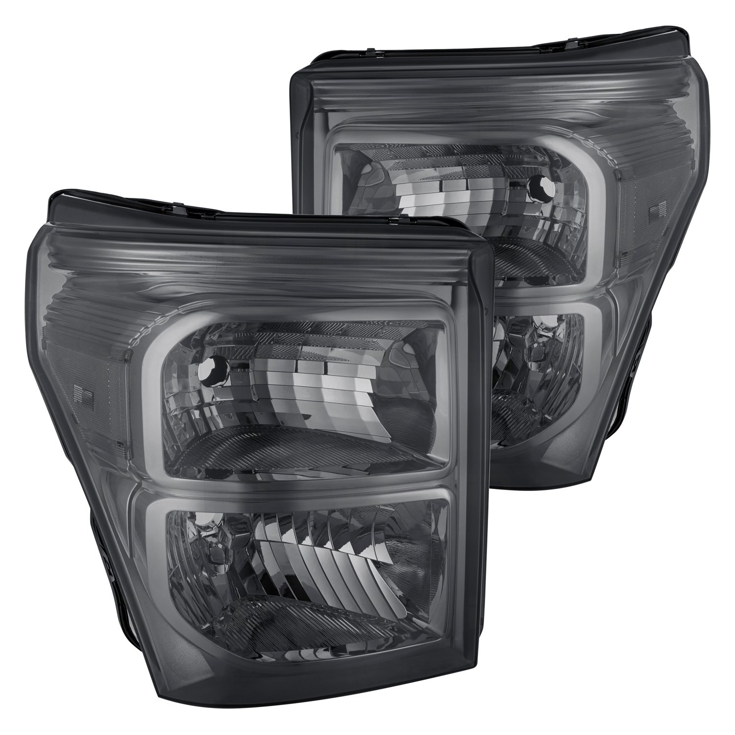 Ford F 250 Headlights : Lumen ford f chrome smoke factory style