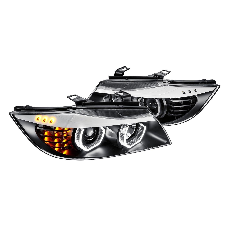 Lumen®   Black 3D Crystal U Bar Projector Headlights With LED Turn Signal