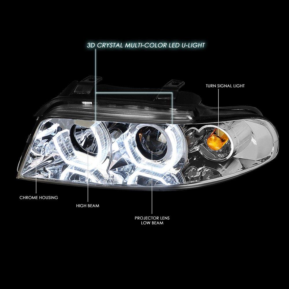 Lumen® 87-1001599 - 7 Color Chrome LED DRL Bar Projector Headlights