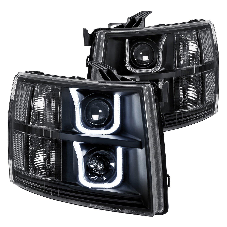 Lumen Chevy Silverado 1500 2008 Black Led Drl Bar Projector Headlights
