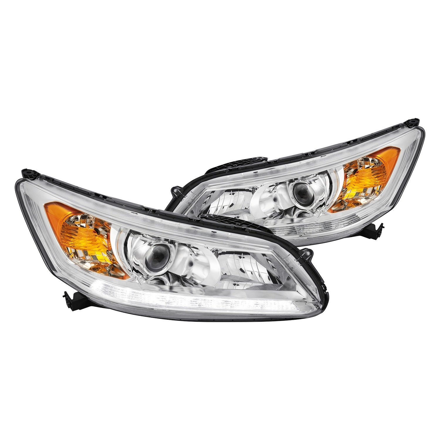 lumen honda accord 2014 2015 chrome projector headlights with led drl. Black Bedroom Furniture Sets. Home Design Ideas