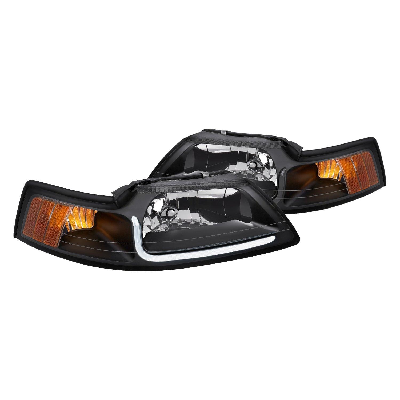lumen ford mustang 2000 black led drl bar euro headlights lumen black led drl bar euro headlights