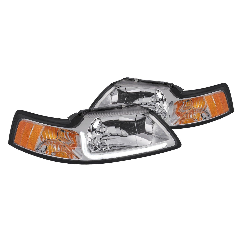 lumen ford mustang 2000 chrome led drl bar euro headlights carid com