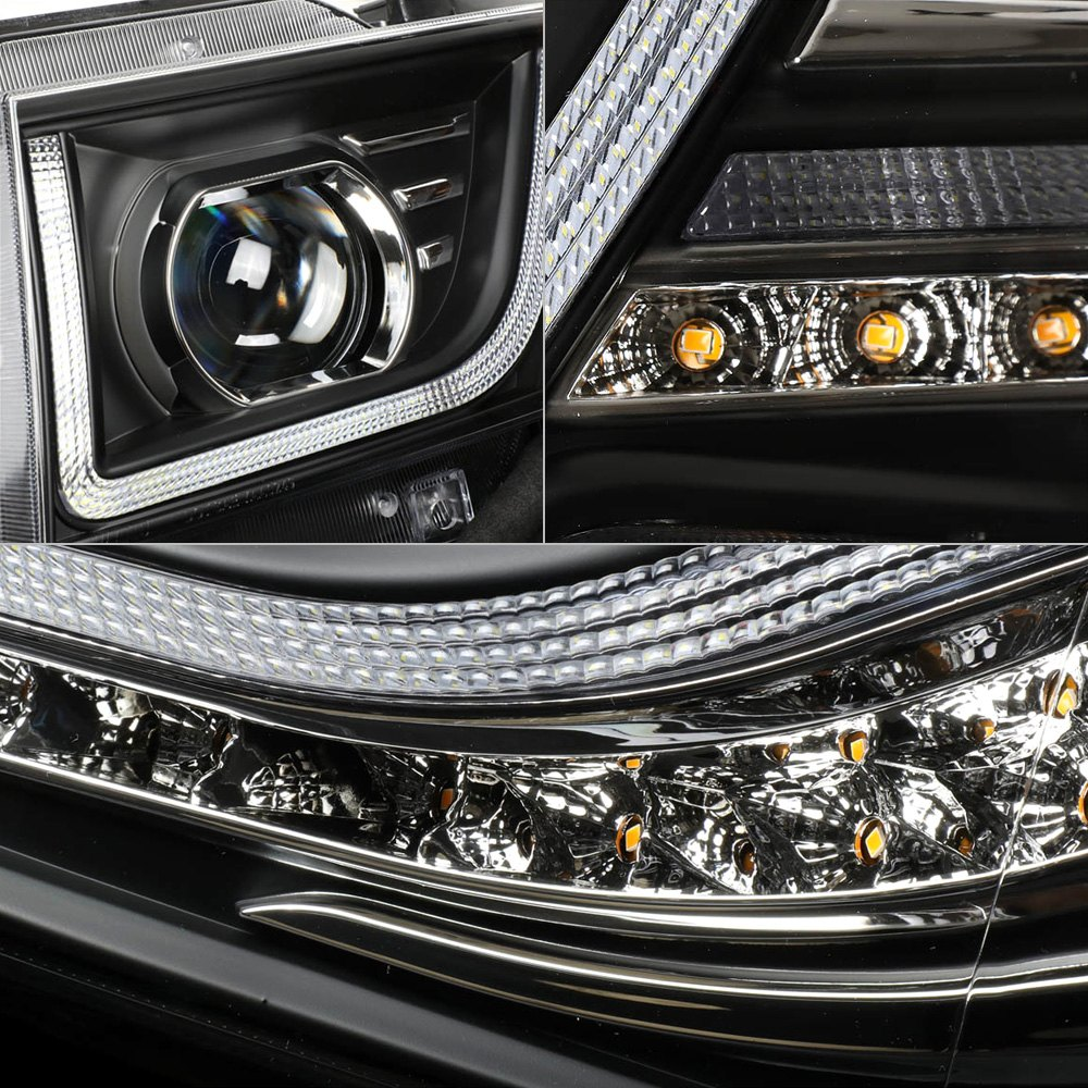 Lumen® 87-1002363 - Black DRL Bar Halo Projector Conversion Headlights with  Sequential LED Turn Signal