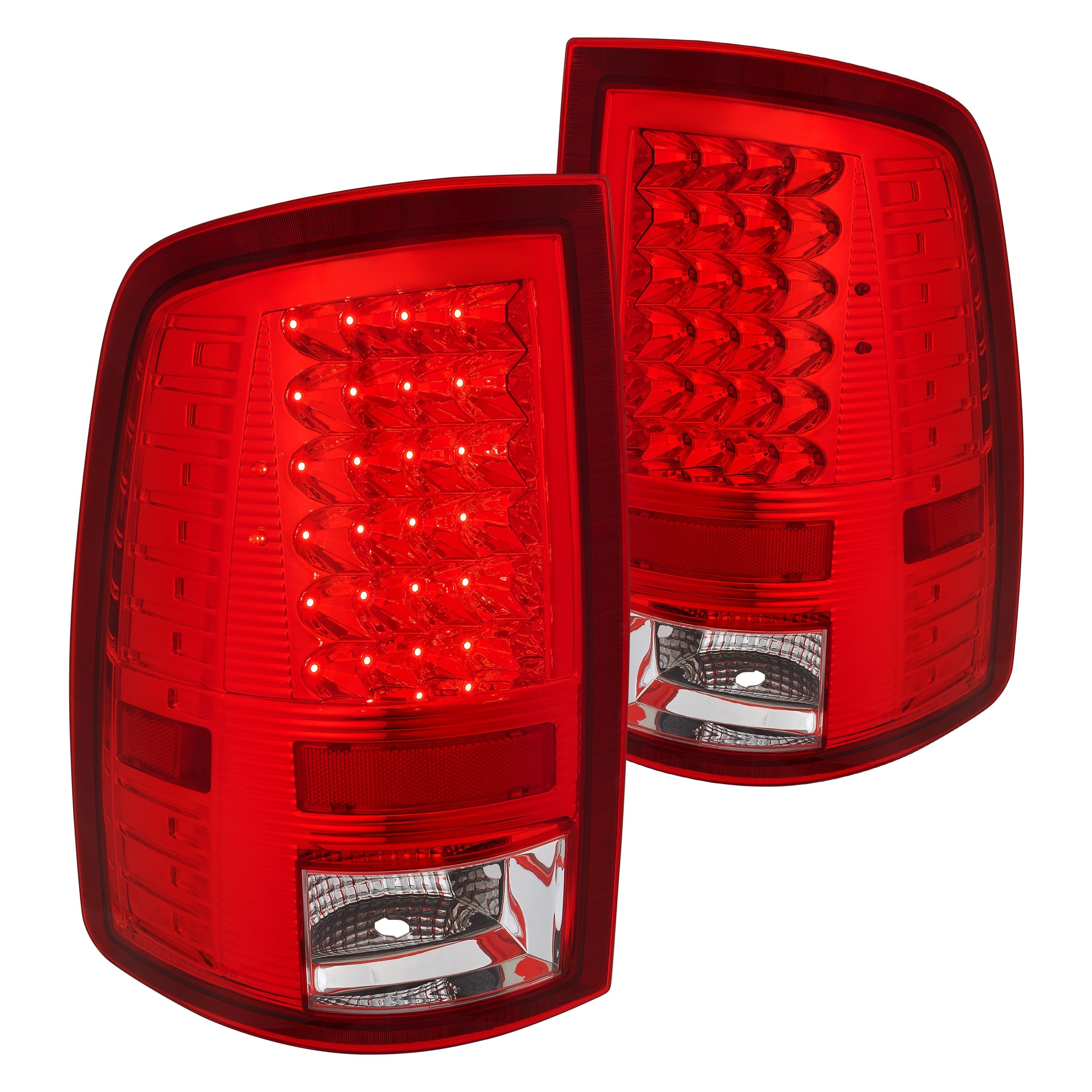 Lumen 174 Ram 1500 2015 Chrome Red Clear Led Tail Lights