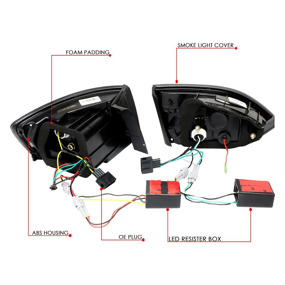 Lumen 88 1001392 Black Smoke Sequential Fiber Optic Led Tail Lights Wiring New Home