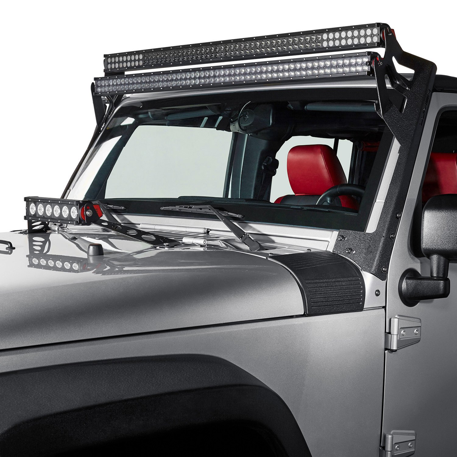 lumen jeep wrangler 2007 2017 windshield frame light bar mount. Black Bedroom Furniture Sets. Home Design Ideas