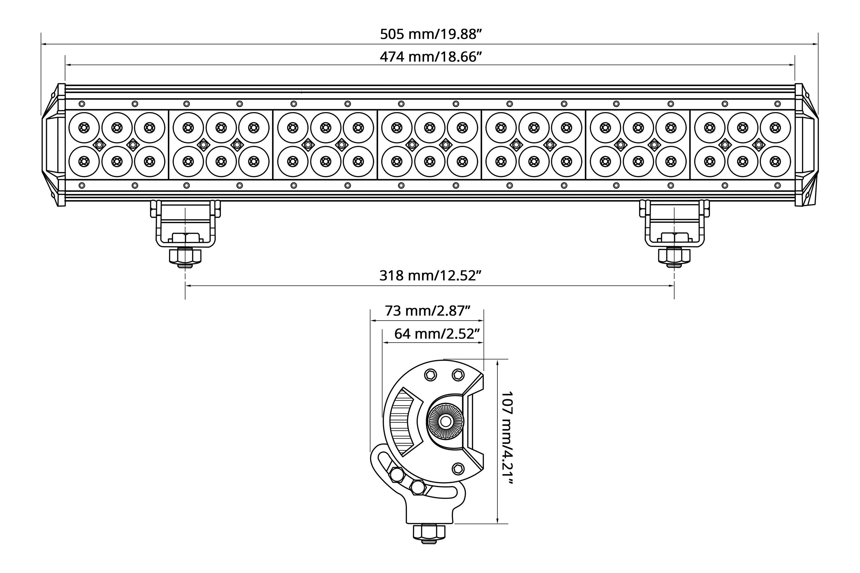"... 20"" 126W Dual Row Combo Beam LED Light Bar, ..."