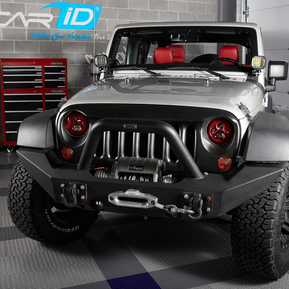 "lumen® - jeep wrangler 2007-2017 7"" round red projector led headlights"