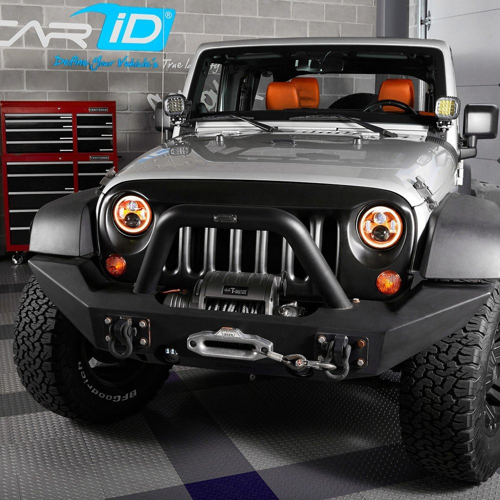 Halo Lights For Jeep Wrangler >> Lumen 7 Round Orange Projector Led Headlights With Switchback Halo