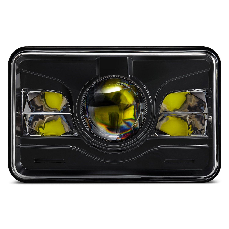 lumen sb4655hl blk 4x6 rectangular black projector led headlights. Black Bedroom Furniture Sets. Home Design Ideas