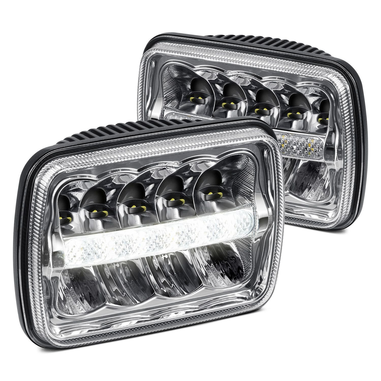 Lumen Jeep Wrangler 1987 7x6 Rectangular Black Led Headlights Light Bulbs With Drl